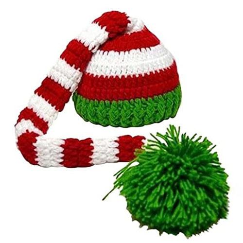 Kafeimali Baby Christmas Elf Long Tail Crochet Stocking Cap