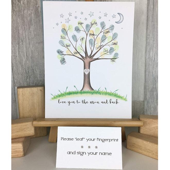 Love You To The Moon Fingerprint Tree