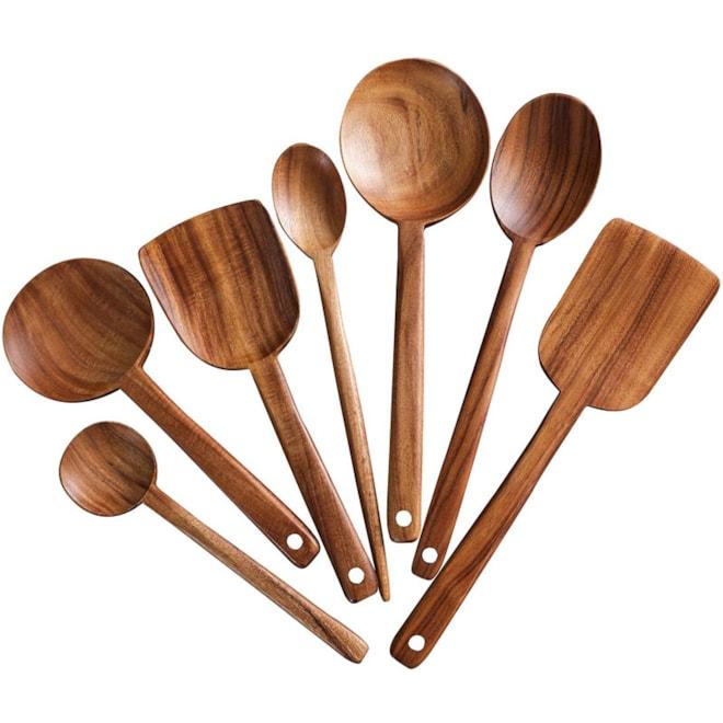 Long Handle Wooden Cooking Utensil Set