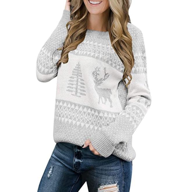 LookbookStore Long Sleeves Ugly Christmas Tree Reindeer Sweater