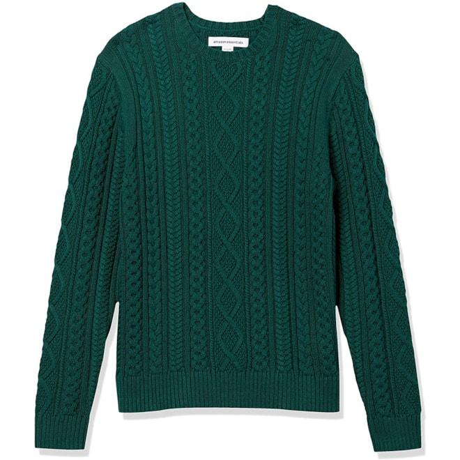 Men's Long-Sleeve 100% Cotton Cable Crewneck Sweater
