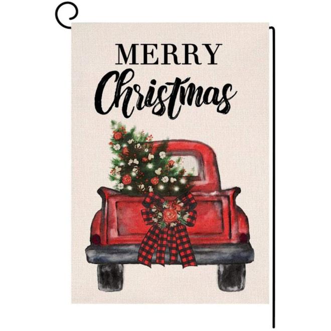 Merry Christmas Truck Garden Flag