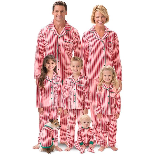 PajamaGram Candy Cane Fleece Family PJ's