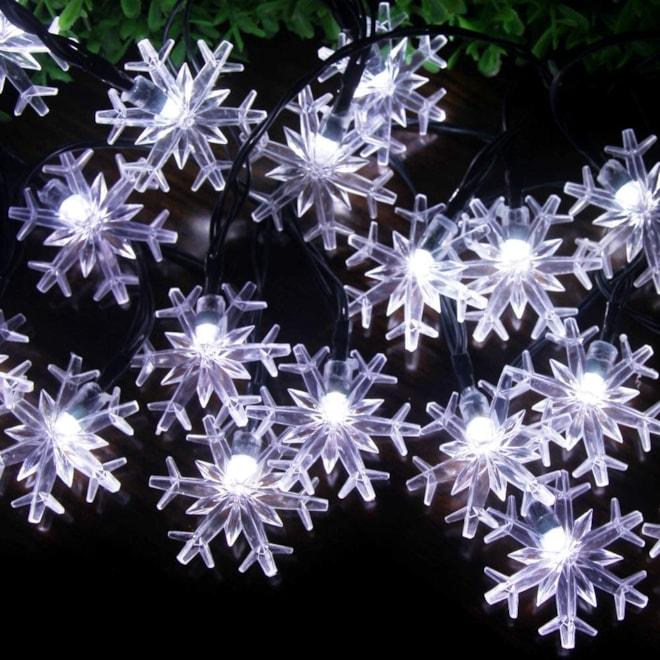 Solar Snowflake String Lights