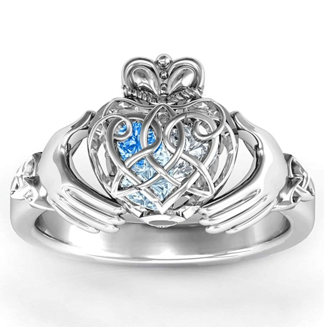 TSD Sterling Silver Caged Hearts Celtic Claddagh Ring