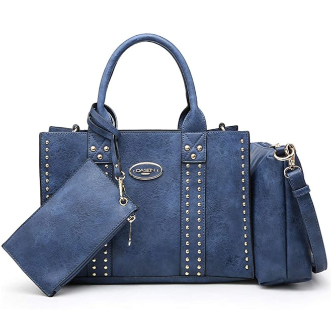 Vegan Leather Satchel Top Handle Work Bags 3pcs