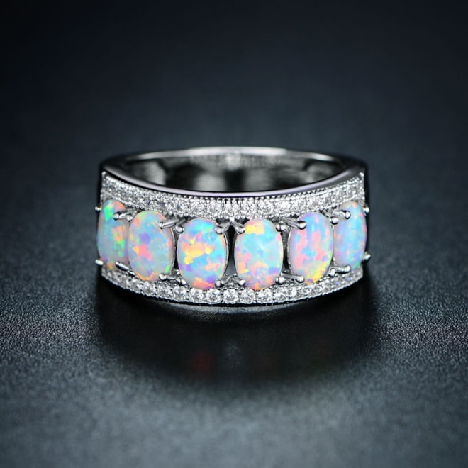 18k White Gold Plated Oval-Cut Created Fire Opal & Cubic Zirconia Ring
