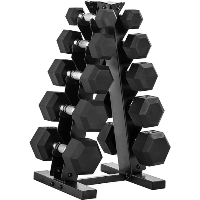 Rubber Hex Dumbbell Weight Set