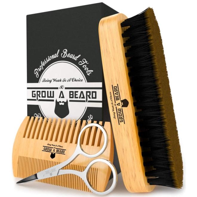 Bamboo Beard Brush and Comb Set