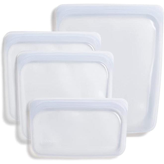 Stasher 100% Silicone Reusable Food Bag, Bundle, Clear