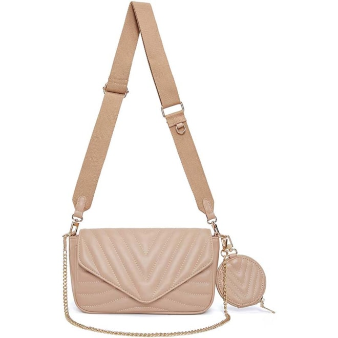 Small Quilted Crossbody Bag (Khaki)