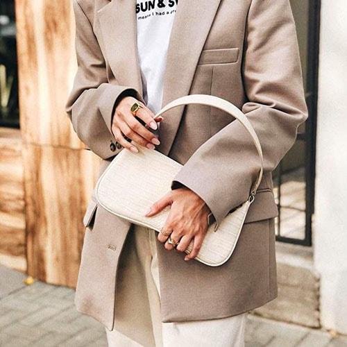 90s Shoulder Bag  Vegan Leather Crocodile Baguette Purse