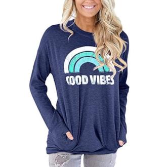 Good Vibes Shirt Rainbow Navy Blue Pockets