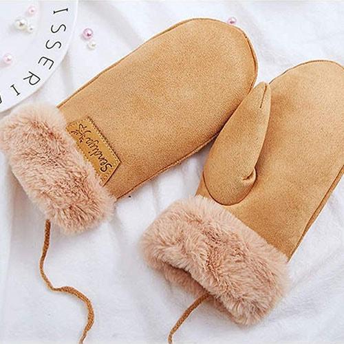 Sherpa Lined Fur Cuff Mittens