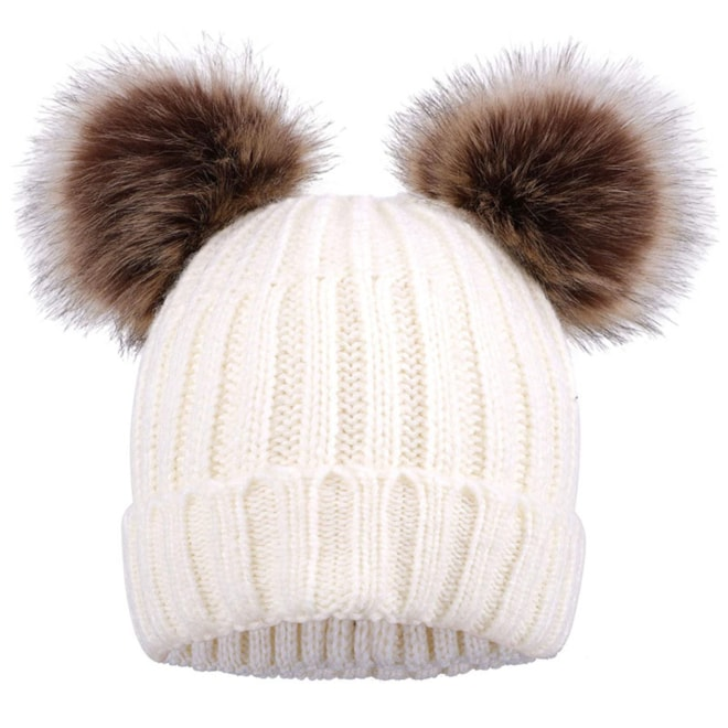 Knit Beanie Hat With Pompom Ears