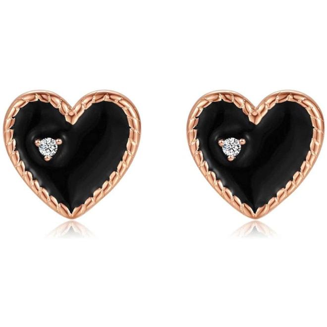 Rose Gold Black Heart Stud Earrings
