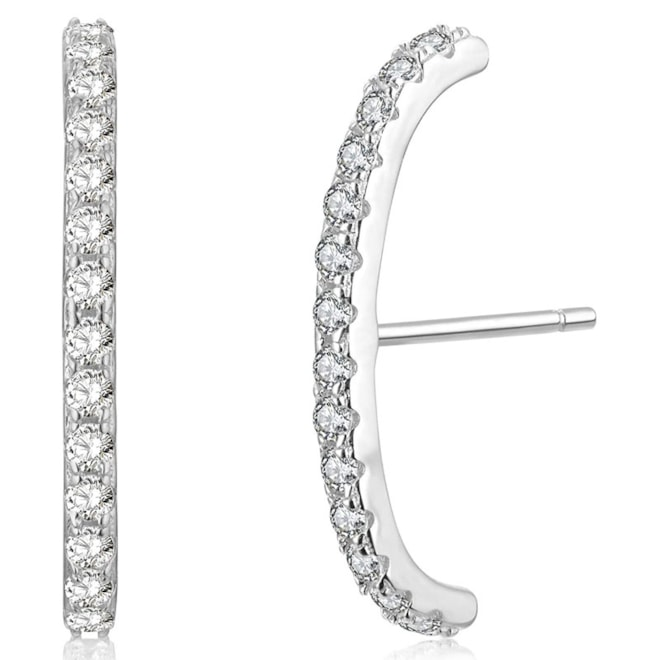 Rhodium Plated Sterling Silver Paved Gemstone Curved Bar