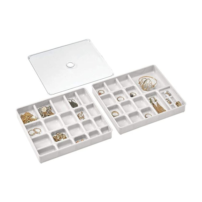Stackable Plastic Storage Jewelry Box - 2 Organizer Trays with Lid