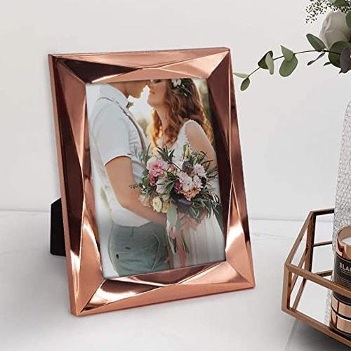 Rose Gold Glass Photo Frames Modern Geometric Design 5x7 Picture Frame