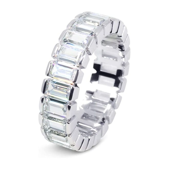 18K White Gold Plated Cubic Zirconia Emerald Cut Eternity Ring Band