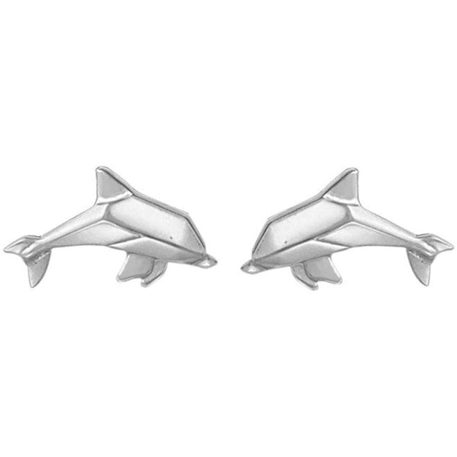 Sterling Silver Origami Dolphin Stud Earrings