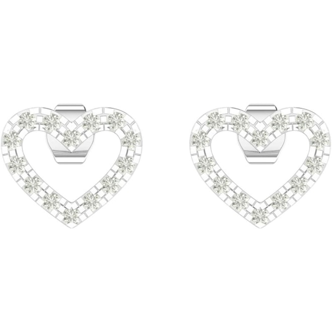 Diamond Heart Stud - 0.1 Carat in Prong Setting 28 Natural Stones 925 Sterling Silver