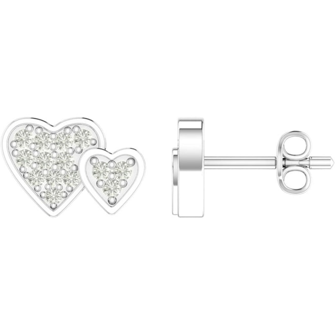 Diamond Heart Stud Earring-0.09 Carat in Prong Setting 28 Natural Stones set in 925 Sterling Silver