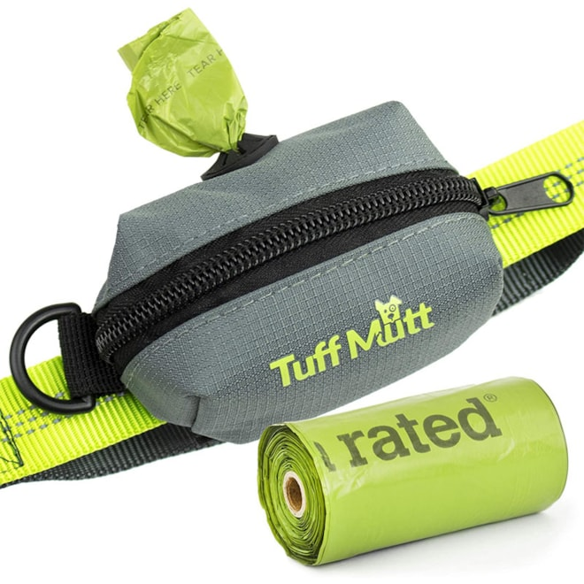 Tuff Mutt - Dog Poop Bag Holder Leash Attachment, Includes 1 Roll of Poop Bags, Waste Bag Dispenser,