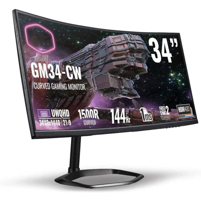 """34"""" 21:9 Curved Frameless Ultrawide Gaming QLED Monitor 3440x1440"""