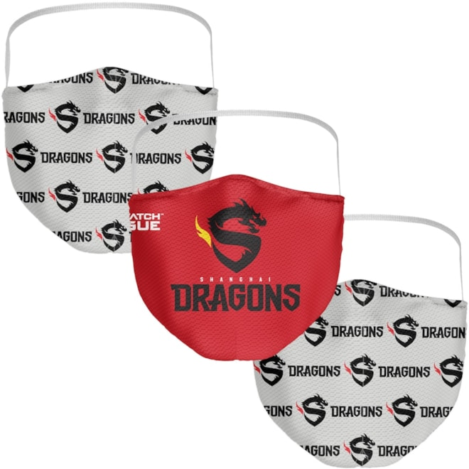 Shanghai Dragons Fanatics Branded Adult Face Covering 3-Pack