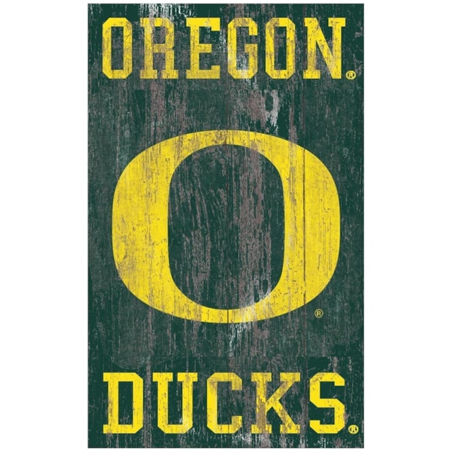 Oregon Ducks Distressed Logo Sign