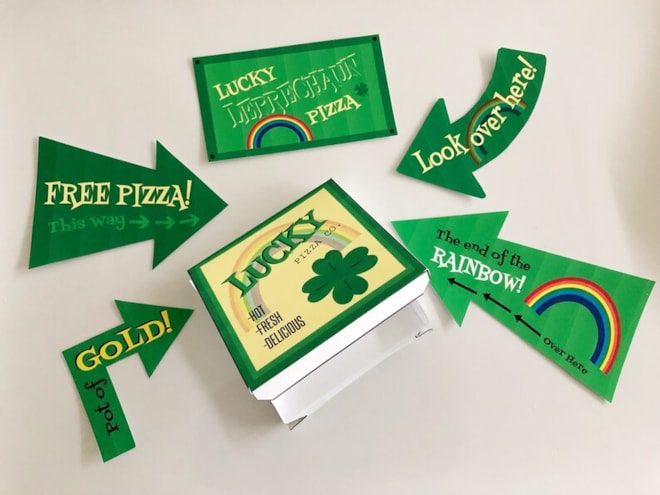Leprechaun Trap Printables  Pizza Box and Signs