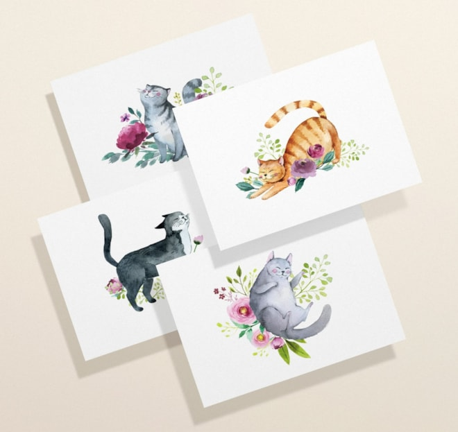 Cat Note Cards Set