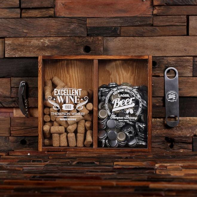 Beer Cap & Cork Holder Personalized Box & Bottle Opener