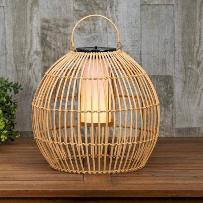 Hanging Solar Flame Effect Bamboo Pendant Light