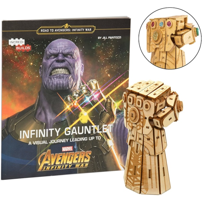 Marvel Avengers Infinity War Infinity Gauntlet Book and 3D Wood Model Kit - Build, Paint and Collect