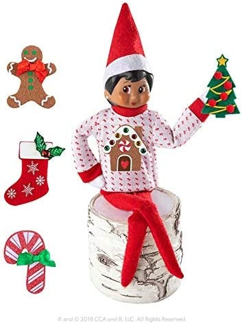 The Elf on the Shelf Boy Sweater Set - One Sweater with 5 Attachable Decals