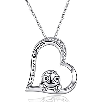 "925 Sterling Silver Sloth ""Don't Hurry Be Happy"""