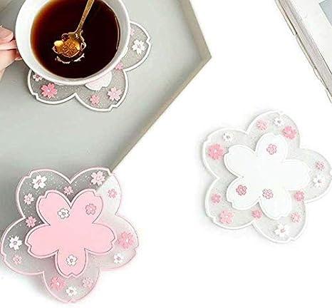 Durable Non-Slip Sakura  PVC  Tea Coaster