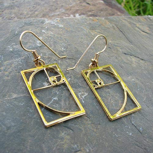 Boutique Academia Fibonacci Spiral Golden Rectangle Earrings