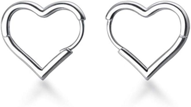 925 Sterling Silver 1.6CM Heart Hoop Earrings