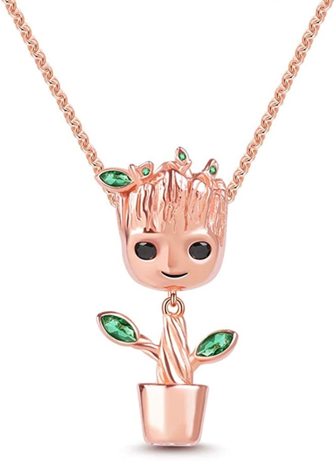 Dangling Tree Necklace Sterling Silver 18k Rose Gold Necklace With Green Stone Groot