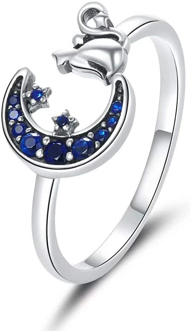 Sterling Silver Cat Moon and Star Open Ring