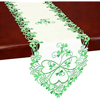 Simhomsen Irish Clover Table Runners, Embroidered Shamrock Table Linen for St. Patrick's Day and Spr