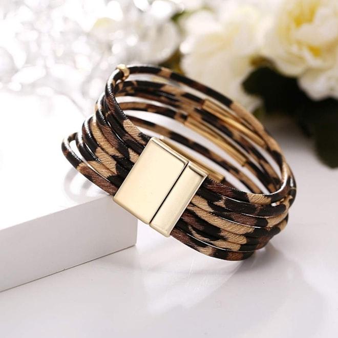 Leopard Print Leather  Wrap Bracelet