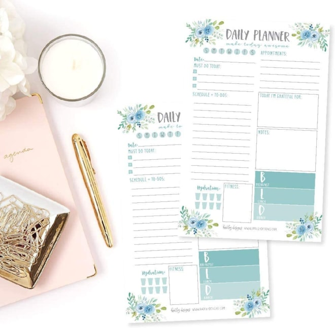 Teal Undated Daily Task Planner To do List Pad