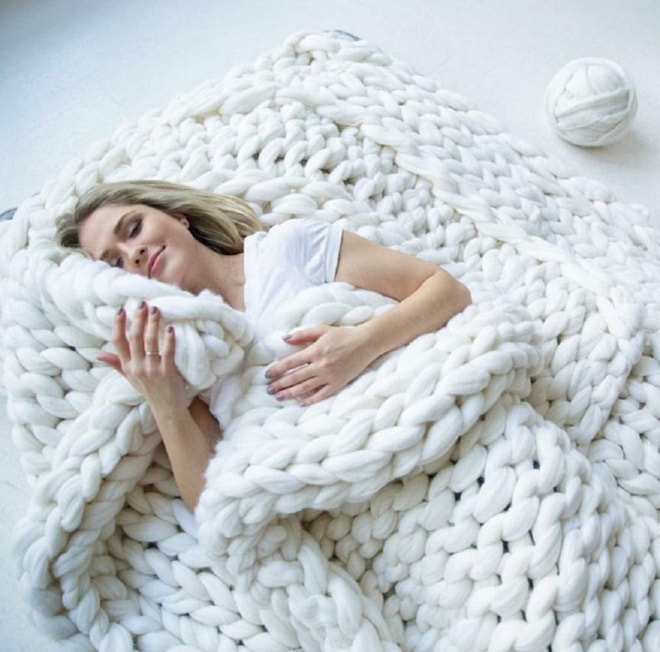 Chunky Knit Blanket Merino Wool