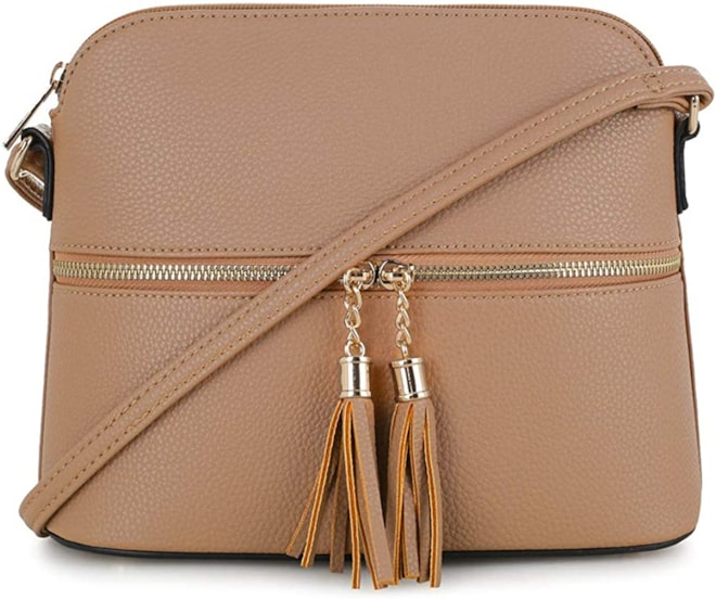 Crossbody Bag with Tassel Taupe