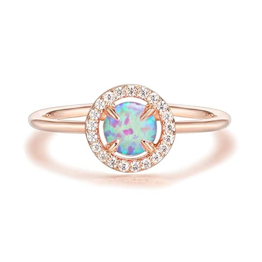 Rose Gold Plated Pink Opal Ring