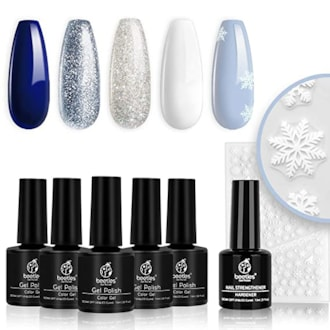 Beetles Blue and SIlver Christmas LED Gel Soak Off Kit with Snowflake Stickers